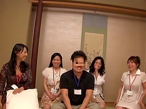 Lucky Japanese dude lets six horny chicks suck and rail his prick
