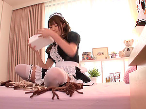 Horny Japanese maid is making out with herself now