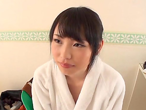 Huge-titted Japanese honey milks and titty fucks two guys