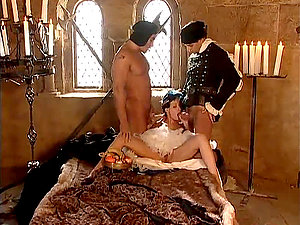 Going back to history with horny black-haired sucking it deep and getting fucked