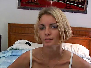 Short-haired gal gets fucked doggystyle and in missionary pose in Point of view