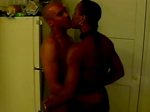 Two Black faggots suck dicks and fuck each other in a kitchen