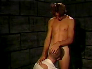Two homosexuals have a rough ass-fuck hump in a basement