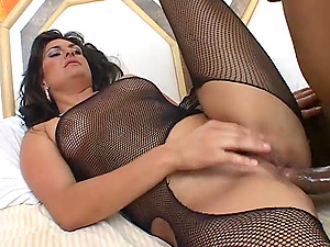 Buttfuck Maite in fishnet gets fuck slots banged hard-core and facial cumshot cumload