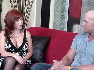 Vivacious Cougar With Big Tits Sucking A Stranger's Large Shaft On Her Couch