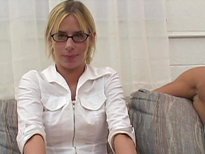 Whorish Blonde Whore With Glasses Takes In A Pretty Massive Dick