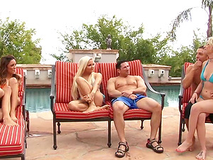 Three couples are having a groupsex outdoors