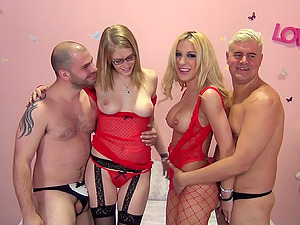 Sexy blondes are fucked by two guys in a hot four way
