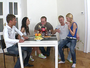 Stunning Unexperienced Teenagers In A Group Romp Getting Drilled