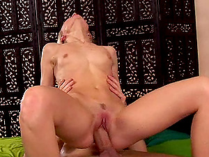 A skinny blonde gets punctured by a draped stud who cums in her mouth