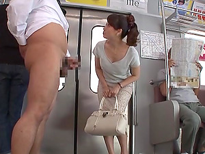 Gorgeous Japanese Cougar Munching And Sucking A Stranger's Big Shaft On A Train