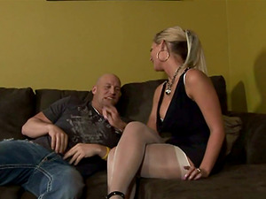 Beautiful Blonde With Big, Faux Tits Pegging Her Bf