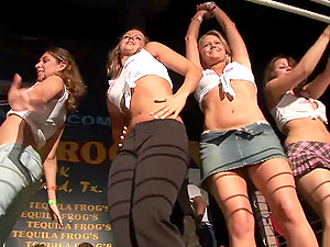 Curvy Amateurs In Jeans And Miniskirts Dancing In A Soiree