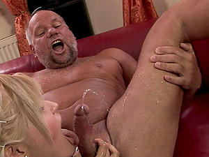 Old Fart Gets His Dick Sucked By A Sexy Blonde Whore