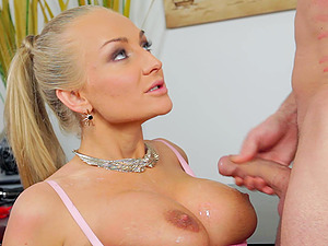 Tattooed blonde assistant Kayla Green gets fucked by visitor