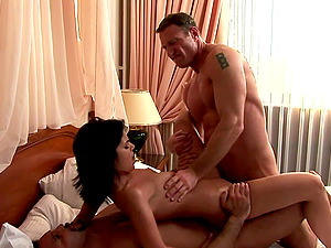 Threesome bang-out with the trampy dark-haired Sabina Moore