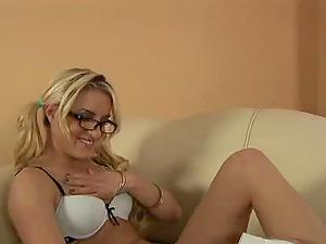 Tattooed Ponytails Blonde In Glasses Frigging Her Trimmed Beaver