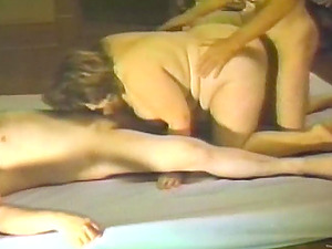 BBW is fucked by two guys in antique threesome