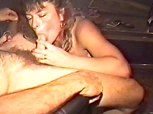 Whorey brown-haired is fucked in antique threesome