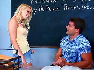 Miniskirt Wearing Blonde Fucks Her Educator on His Desk