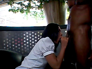 Beautiful Youthful Brown-haired Liking A Xxx Interracial Fuck In A Parking Lot
