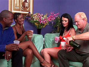 Black and milky couples switch their fucking partners for swingers soiree