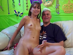 Duo Hump Inbetween Older Man And Adorable Chick With Samll Tits