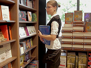 Harcore rear end style romp scene with a kinky librarian