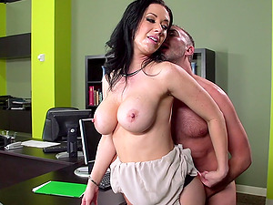 Jayden Jaymes is fucked stupid by a boy until he cums on her tits