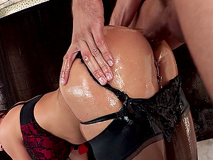 Angelic cougar with hot bum in g-string coping up with gigantic dick gonzo inwards her buttfuck