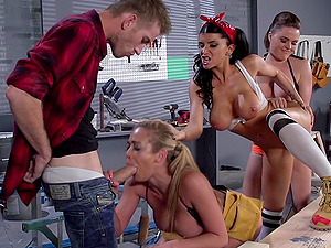 Three big-breasted skanks share a weiner in switch sides gang-fuck scene