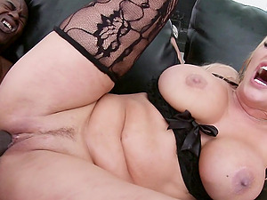 Incredible Blonde Cougar Fondling Her Big Tits While Getting Gobbled