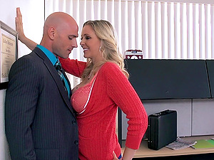 Sexy Blonde Cougar With Lengthy Hair Getting Drilled In The Office