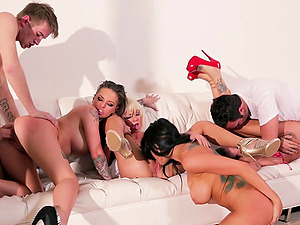 A few stunning bitches get their fuck-holes drilled hard in group hookup movie