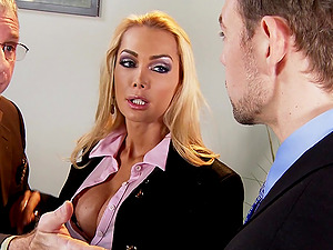 Chesty blonde Devon blows and gets her beaver drilled in all positions