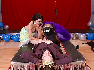 Two fantastic brunettes share the dick of a lucky dude