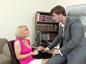 spunk on her tits after hard pound in the office reality
