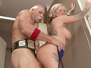 Blonde mom Kate Frost luvs lovemaking with Johnny Sins in a rest room