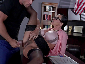 Sassy Brown-haired With Faux Tits In Glasses Getting Banged In Office