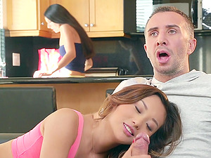 Alina Li gets her Asian twat slammed by Keiran Lee in upskirt hump vid