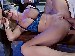 Courtney Taylor is fucked by big hard-ons in a threesome
