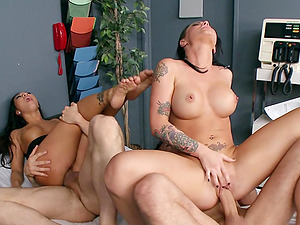 Horny adult movie stars get fucked rear end style in an enticing 4some clip