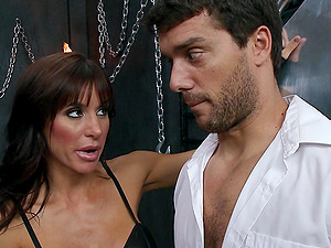 Gia Dimarco and Juelz Ventura share a shaft in leather fetish clip