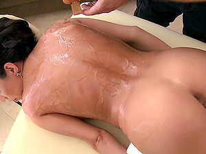Her rubdown completes with her masseuse plunging his shaft deep inwards her