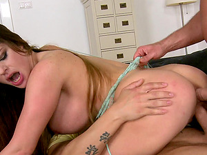 Horny Cowgirl With Faux Tits Gets Screwed In A MMF Threesome