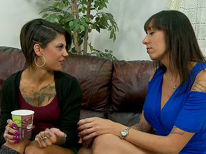 Tattooed Brunettes In Miniskirts Suck One Hard Dick In FFM Threesome