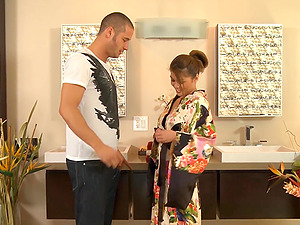 Charmane Starlet massages a man's oiled bod and takes a rail on his man sausage