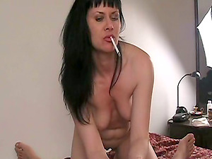 First-timer cougar Mina smokes and gives a fellatio to a boy in Point of view clip
