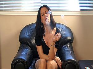 Cigar Fetish Brown-haired In Black Top Smoking Indoors