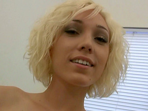 Blonde nubile with brief hair shows natural tits before lap dancing in Point of view